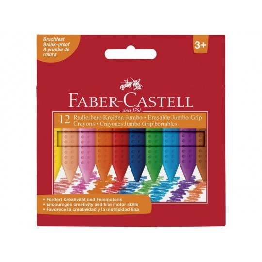 FABER-CASTELL 12 Crayons Jumbo Grip borrables