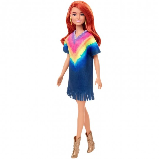 Mattel Barbie Doll - Fashionistas (141) Doll with Long Red Hair & Tie-Dye Fringe Dress