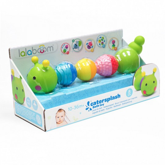 Lalaboom 8 pcs Beads Caterpillar Bath Toy