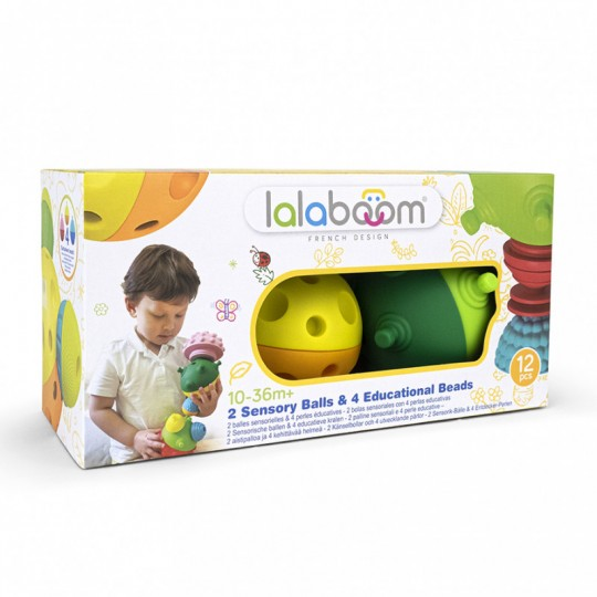 Lalaboom 2 Sensory Balls with 8 pcs Beads