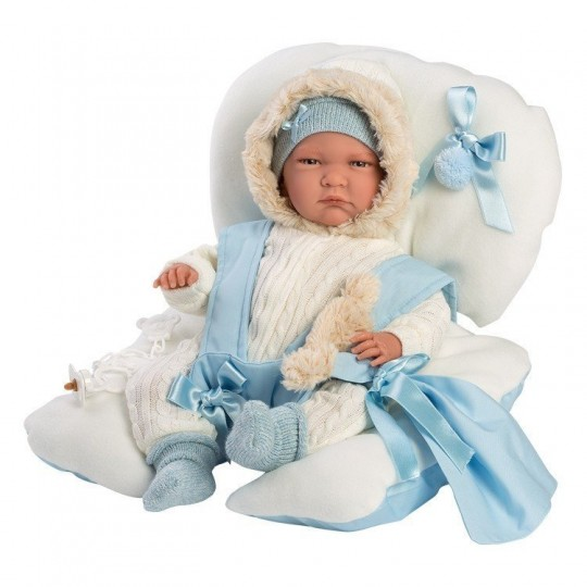 Llorens Doll 42cm - Newborn Crying Lalo with blue baby seat