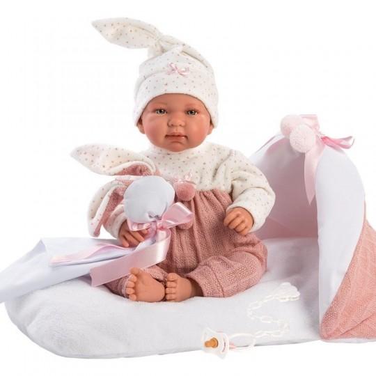 Llorens Doll 44cm - Newborn Crying Tina with pink changing mat
