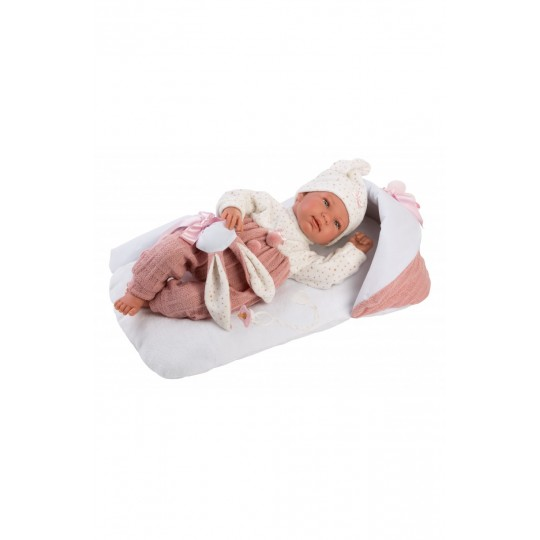 Llorens Doll 44cm - Newborn Crying Tina with pink changing mat