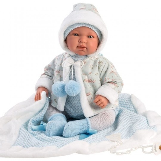 Llorens Doll 44cm - Newborn Crying Tino with blue blanket