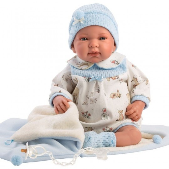 Llorens Doll 44cm - Newborn Crying Tino with sleeping bag