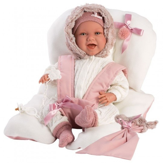 Llorens Doll 42cm - Newborn Mimi Smiles with pink baby seat