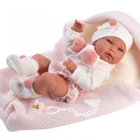 Llorens Doll 40cm - Newborn Nica with pink sleeping-bag