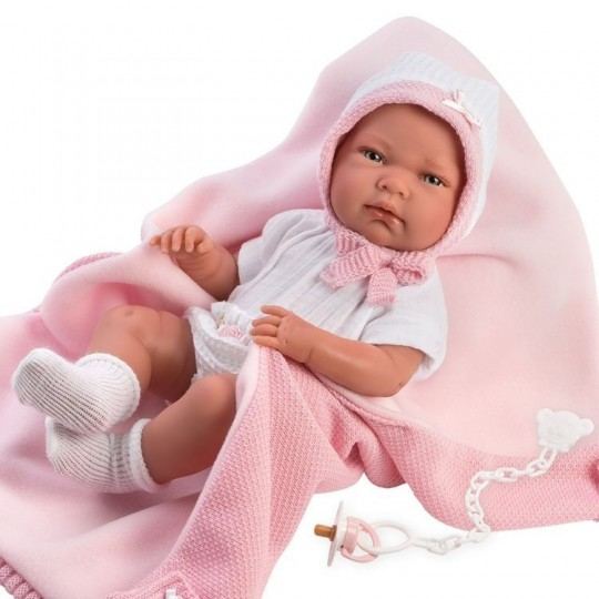 Llorens Doll 40cm - Newborn Nica with pink blanket