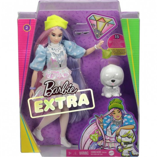 Mattel Barbie Extra: Curvy Doll with Shimmer Look and Pet Puppy