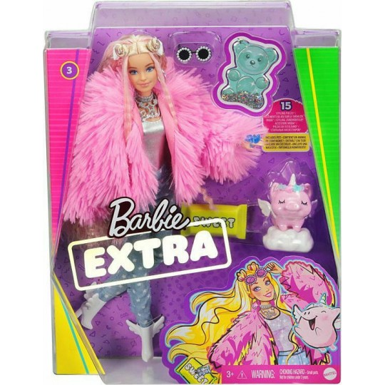 Mattel Barbie Extra: Doll with Fluffy Pink Jacket with Pet Unicorn