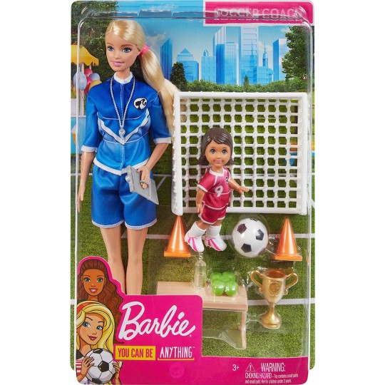 Mattel Barbie You Can Be Anything - Soccer Coach Blonde Doll and Playset