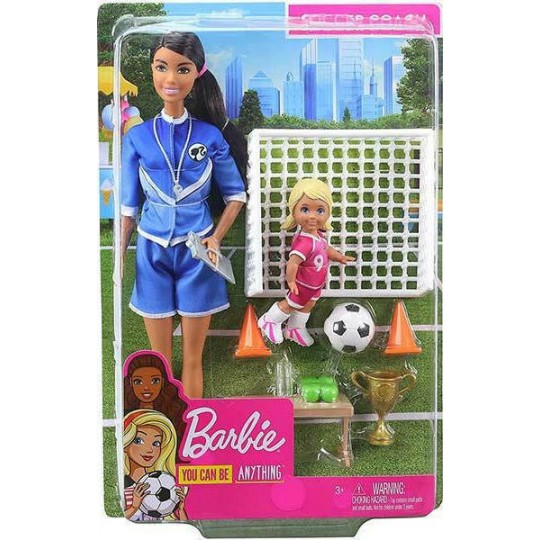 Mattel Barbie You Can Be Anything - Soccer Coach Brunette Doll and Playset
