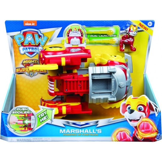 Paw Patrol Mighty Pups Super Paws - Marshall's Powered Up Firetruck