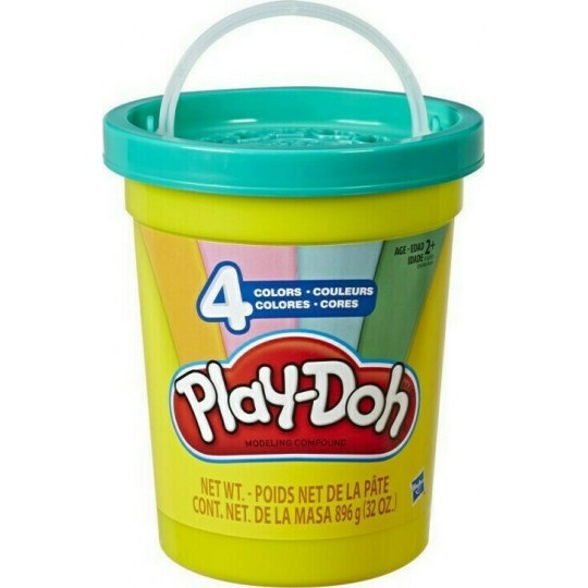Play-Doh Can with 4 Modern Colors (Light Blue, Green, Orange& Pink)
