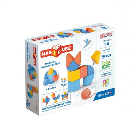 Geomag Magicube 3 Shapes Recycled Animals 9 pcs